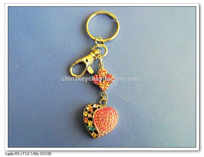 Jewelry - Zinc Alloy Crystal Heart Key Chain