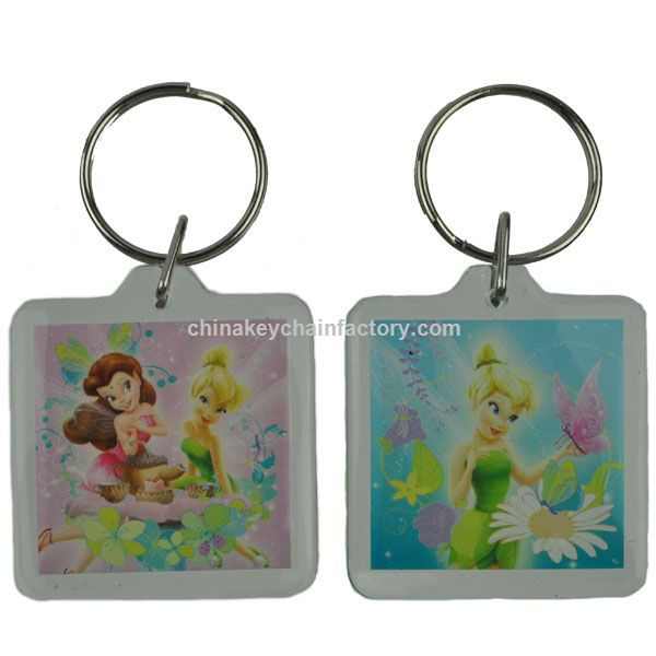 Tinkerbell Square Lucite Keychain Disney