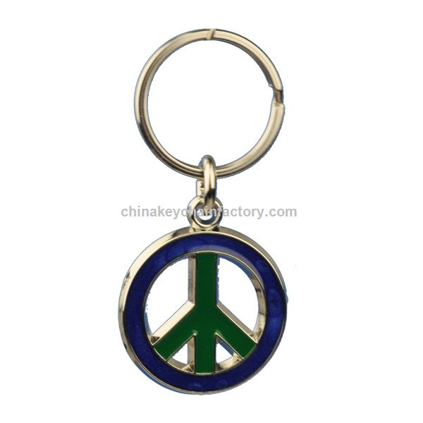 Peace Sign Stained Glass Key Chain
