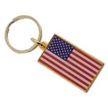 Brass and Epoxy Rectangle USA Flag Key Chain