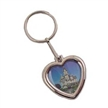 Chrome Heart Shape Photo Deluxe Keychain