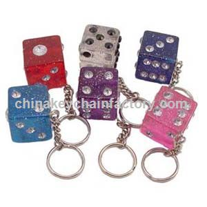 Large Crystal Dice Jewel Key Chain