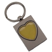 Silver Rectangle With Heart Photo Deluxe Keychain