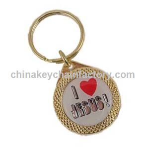 Gold Circle,Love (Heart) Jesus Key Chain