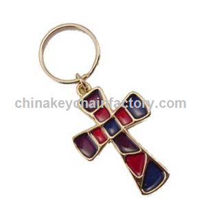 Stained Glass Crucifix Key Chain