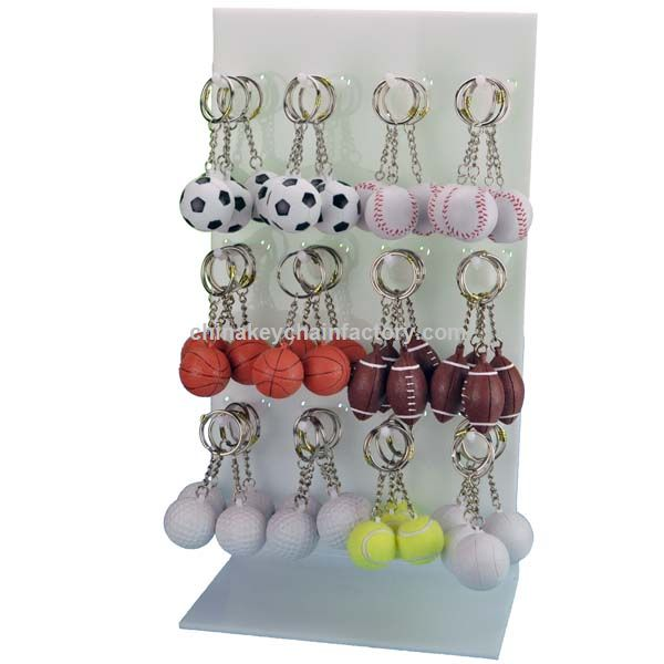 Vinyl Sports Ball Keychains 72 Pc Display Rack
