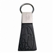 Embossed Metal Leather Keychain, Your Logo Can be Printed like Engraved or Debossed