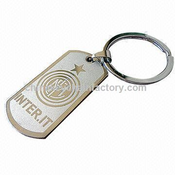 Football Team Metal Keychain com acabamento fantasia, logotipo gravado