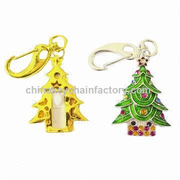Keychain metal Christmas tree USB flash drive, 3-year warranty