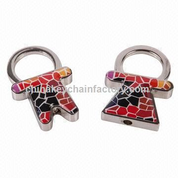 Lovers keychain set in nice design, made of zinc alloy and epoxy