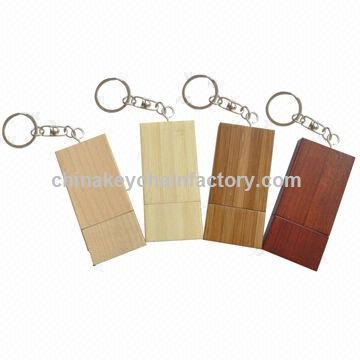Promotional Wood Material USB Flash Drives with Keychain