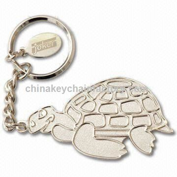Silver Balder Keychains with Small Tag with Laser-Engraved Logo, Made of Iron Material