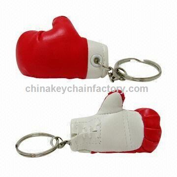 Synthetic Leather Mini Boxing Glove Keychains in Large Size