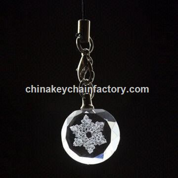 purple flower-engraved crystal keychain