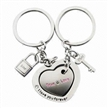 Rhinestone Lovers Metal Keychain, Made of Zinc Alloy Various Shapes,Colors